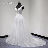 Lace Wedding Dress With Belt V Neck A Line Sleeveless High Quality Real Photo Factory Custom