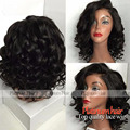 Hot Sales Short Bob Wigs With Bangs Heat Resistant Body Wave Synthetic Lace Front Wig For Black Women No Tangle Fiber Hair Wigs