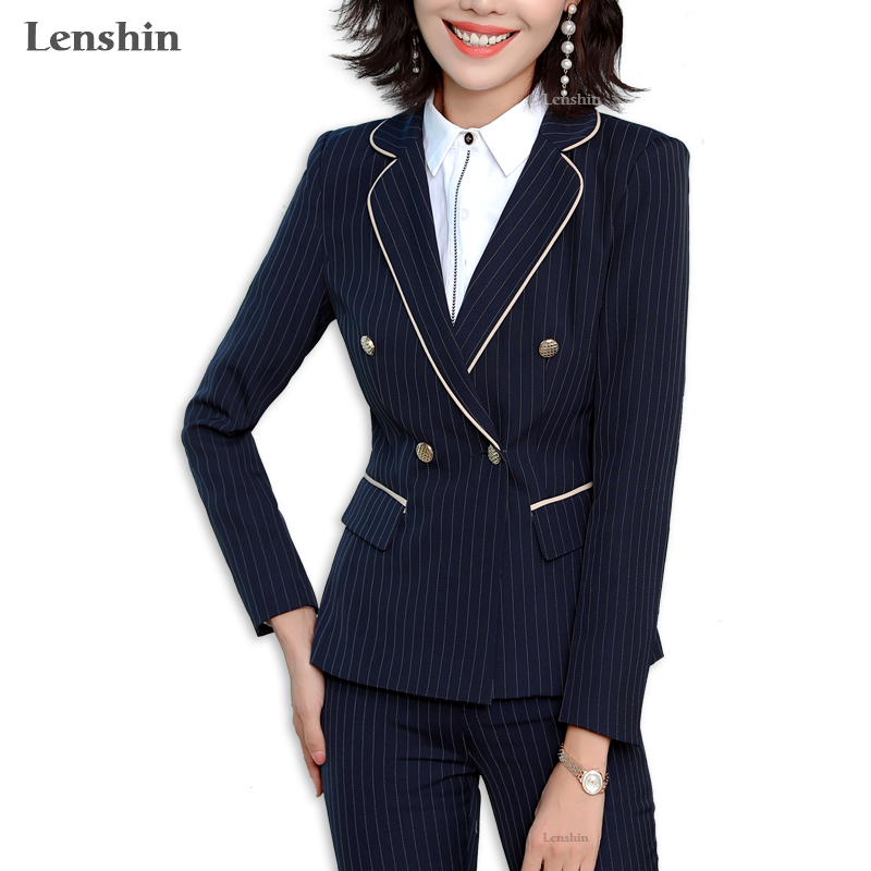 Lenshin 2 Piece Set Binding Striped Formal Pant Suit Office Lady Uniform Design Women Business Jacket And Pant Work Wear