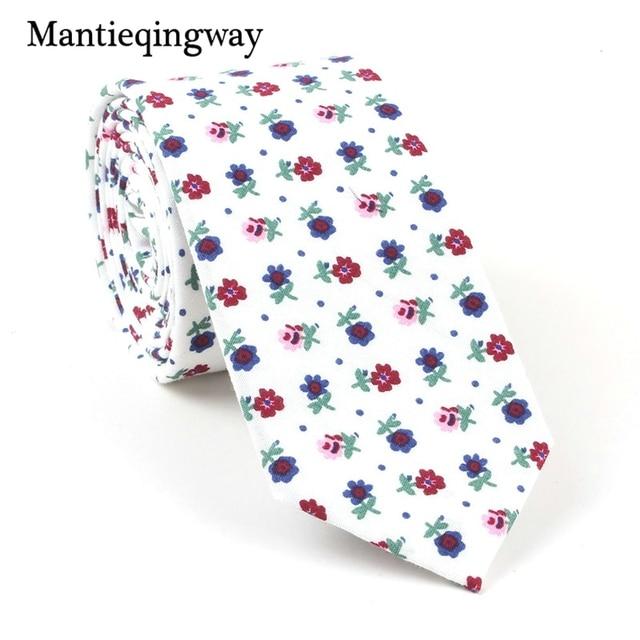 e7109e77f005 Mantieqingway 6cm Mens Suits Cotton Narrow Necktie Floral Printed Gravatas  Slim Wedding Marriage Neck Ties for