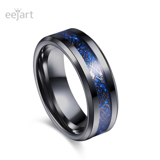 Schwarz 316l Edelstahl Ring Fur Hochzeit Band Blau Carbon Fiber Ring