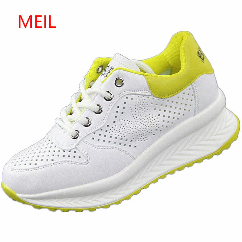 a9bde89cab US $28.54 49% OFF 2018 Spring Summer New Designer Wedges White Shoes Female  Platform Sneakers Women Tenis Feminino Casual Female Shoes Woman-in ...