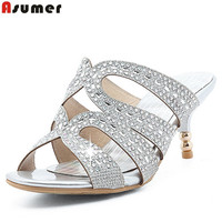 ASUMER Hot Sale New Arrive Women Sandals Fashion Rhinestone Summer Shoes Leisure Lady Prom Shoes Simple
