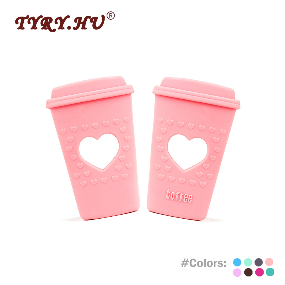 TYRY.HU 1Pc Heart Coffee Cup Silicone Teether Food Grade Baby Teething Nursing Teether For DIY Infant Jewelry Bracelet Crib Toy