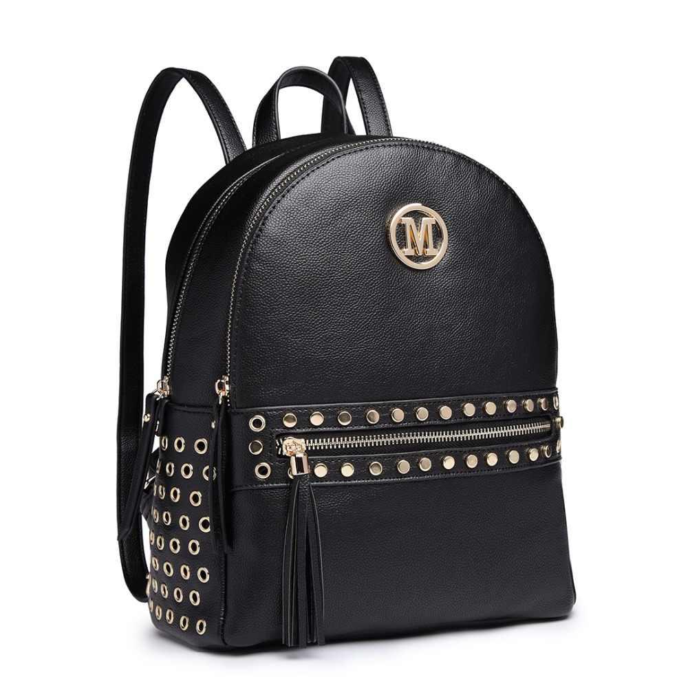Miss Lulu M Women Designer Backpacks School Bags for Girls Ladies PU Leather  Studs Fashion Shoulder 52fc4c812611f