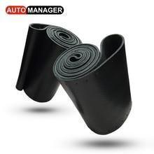 ФОТО diy genuine leather braid on the steering wheel cover car styling auto handlebar interior accessories universal 38cm 15inch