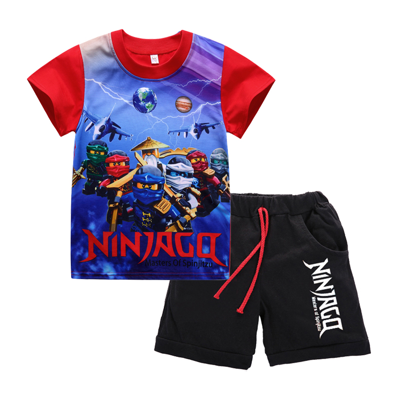 Summer Children Baby Boys Ninja Ninjago Cartoon Clothes Sets Kids Character Short Sleeve Shirt Cute Shorts 2pcs Clothing Sets cute baby boys girls cloth sets cartoon dragon print summer kids t shirt shorts suits children clothing set
