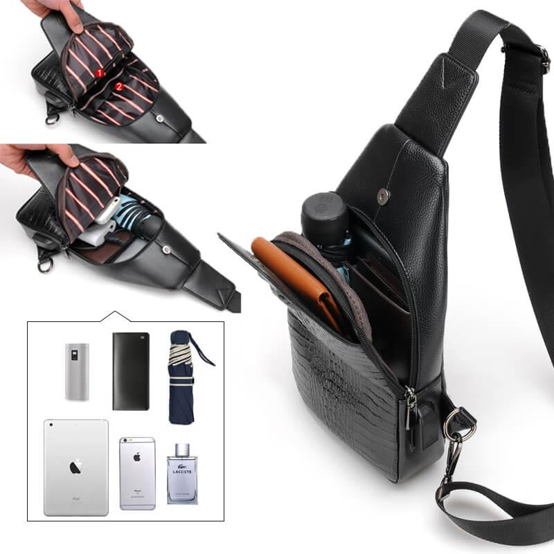 New Fashion Men Chest Bag Messenger Bags Leather USB charging Casual Men's Travel Shoulder Bags Crocodile pattern Crossbody Bag