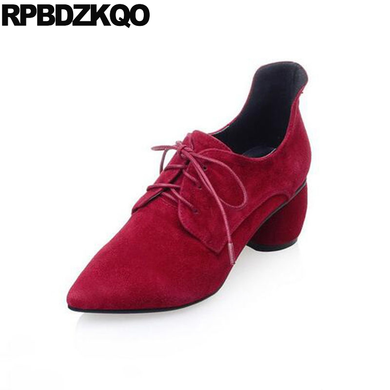 High Heels 2017 Chunky Pointed Toe China Fashion Suede Ladies Walking Pumps Shoes Lace Up Red Medium Size 4 34 Spring Chinese