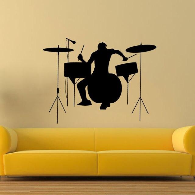 D431 drummer silhouette rock band music wall sticker living room vinyl decal decor