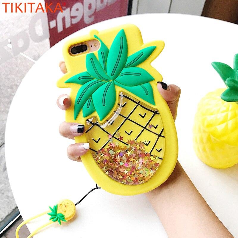 TIKITAKA Liquide Quicksand Étoiles Téléphone Cas Pour iPhone 7 7 plus 3D ananas Cas Pour iPhone 6 6 S Plus Doux Coque Couverture Arrière sangle