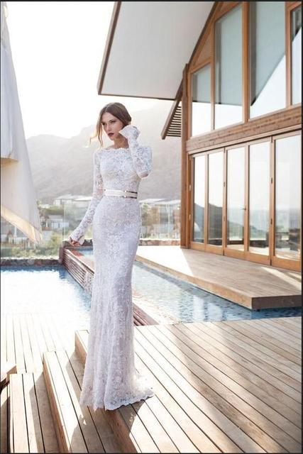 berta bridal beach wedding dresses 2016 unique lace long sleeves pearls sheath wedding gowns bateau illusion
