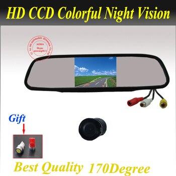 """Продвижение 2 в 1 автостоянка помощь обратный система резервного копирования ночного видения камеры заднего вида + 4.3 """" 2,0-дюймовый HD 800 * 480 монитора автомобиля"""