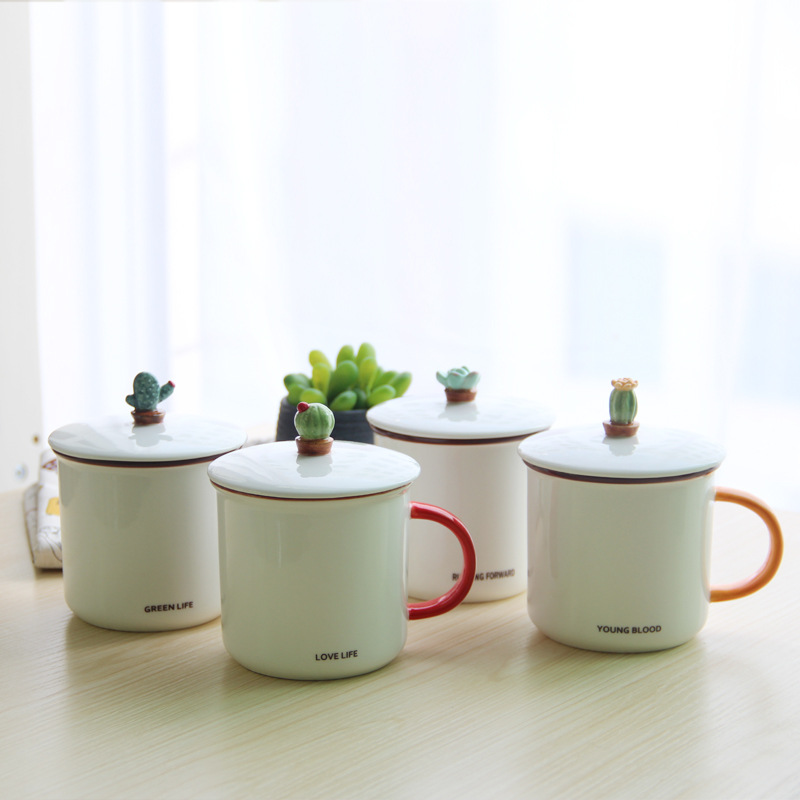 Simple Ceramic Mugs with Stereo Cacti Style Lid Creative Moring Mug for Milk or Coffee Unique Gift for Friends SH243