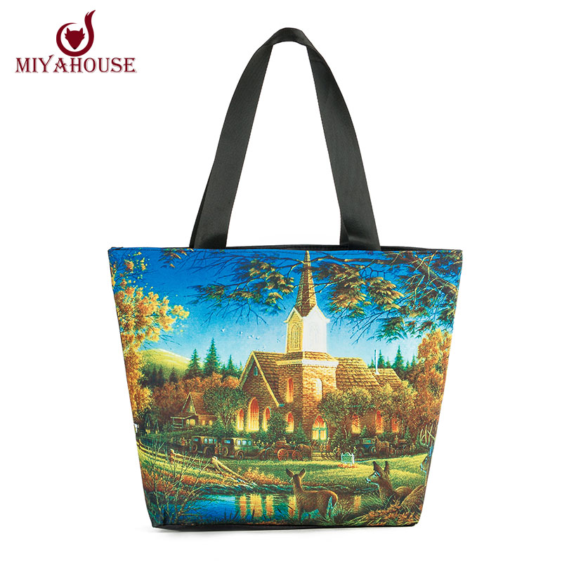 Miyahouse Woman Canvas Shoulder Bags Casual Female Beach Bags Landscape Printed