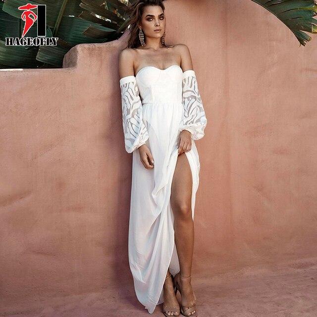 10f33b0853 HAGEOFLY Sexy White Maxi Dress Off Shoulder Lace Slash Neck Strapless  Bandage Dress Floor Length Party Runway Vestidos Women