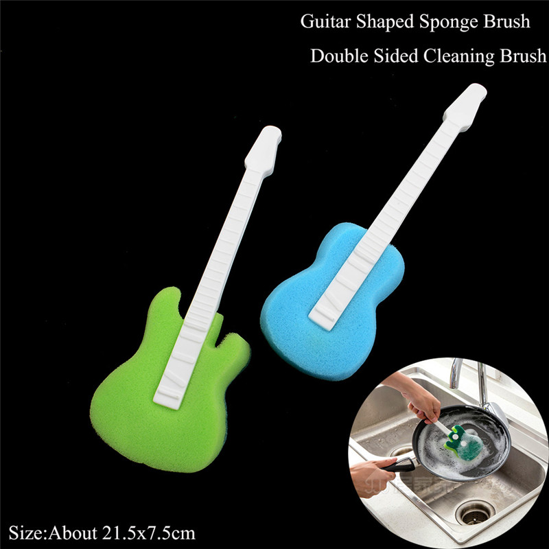 Handheld Dish Washing Cleaning Brush Double Side Guitar Shape Multifunction  Sponge Brush Kitchen Accessories In Cleaning Brushes From Home U0026 Garden On  ...
