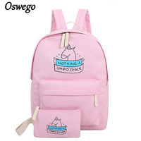 Oswego New Girls Backpacks Canvas Zipper Cartoon Unicorn Printing Composite Bag Fashion Cute Schoolbag For Teenager