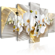 5 Pieces Wall Art Fresh white magnolia flower abstract golden background Canvas  Home Decoratives Paintings Framed PJMT- (26)