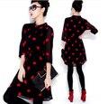 2016 de Moda de Verano de Las Mujeres Retro Casual Plus Tamaño de La Gasa de los labios Rojos y secciones largas de La Blusa Blusas Camisa Mujeres tops
