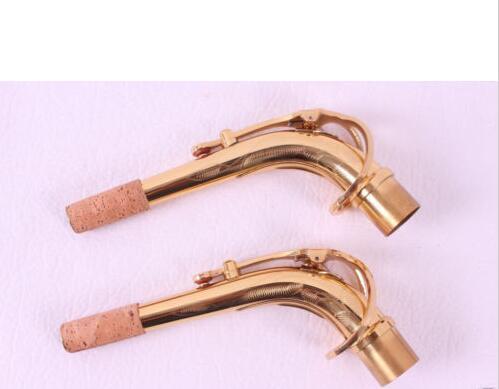 2pcs Saxophone Neck new Alto Sax neck engraved golden brass material2pcs Saxophone Neck new Alto Sax neck engraved golden brass material