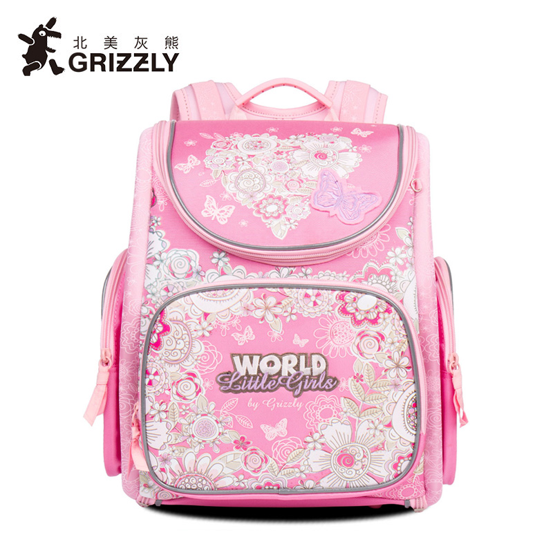 GRIZZLY Butterfly Printing Student Backpack Dragon Zipper Bag Waterproof Orthopedic Kids School Bags For Girls Leisure