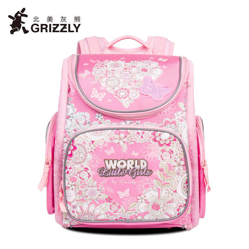 02b26406a329 Гризли Бабочка печать студент рюкзак Дракон молния сумка Водонепроницаемый  ортопедические детские Школьные ранцы для Обувь для