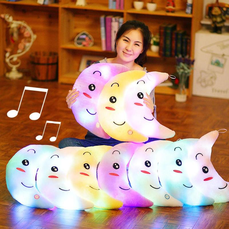 1pc Colorful Moon Shape LED Light Music Pillow Plush Toys Luminous Glowing Pillow Soft Stuffed Lovely Kids Toy Birthday Gift #30