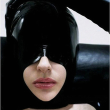 9181d75bd sexy lingere exotic unisex black latex mystic cover eyes open mouth half  face mask hoods cekc