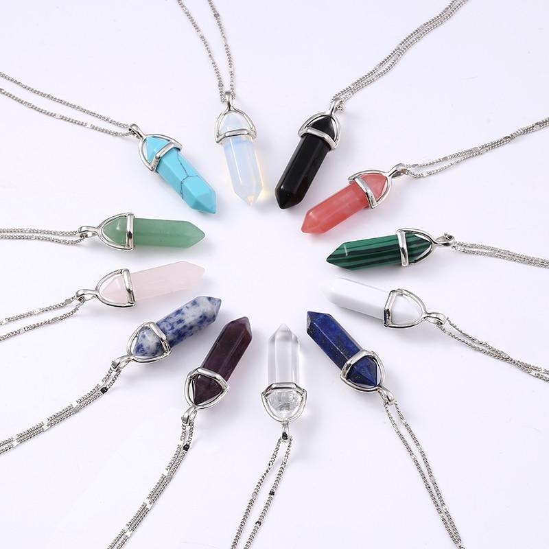 2016  Women Fashion Vintage Pendants Bullet Crystal Necklace Natural Stone Quartz Necklaces Bijoux Jewelry Collares Chain