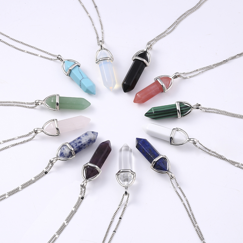 2017 Women Fashion Vintage Pendants Bullet Crystal Necklace Natural Stone Quartz Necklaces Bijoux Jewelry Collares Chain