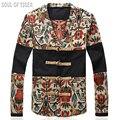 Китайский Стиль Верхняя Одежда Новый 2017 Известный Бренд Clothing Печатных Мужская Куртка V Шеи Мужчины Белье Куртки Chaquetas Хомбре Человек Пальто