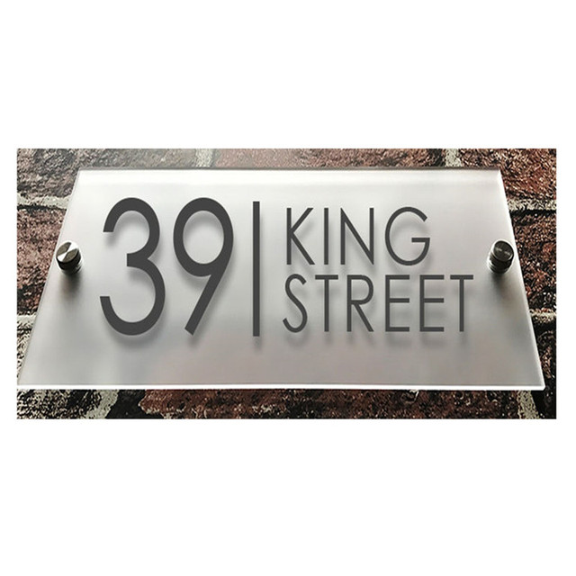 fe1924ee36a Customized Modern Clear Acrylic House Sign Plaques Door Plates with Frosted  Film House Number Street Name Sign