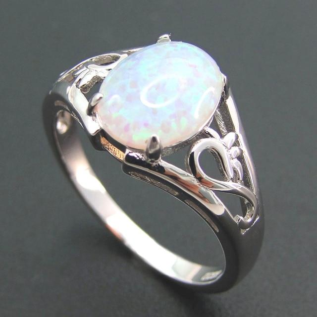 Gioielli Bianco opale di fuoco D'argento di modo Anello 100% Gioielli In Argento Sterling 925 Anelli di Nozze Donne Anelli Dimensione 5/6/7/8/9/10/11