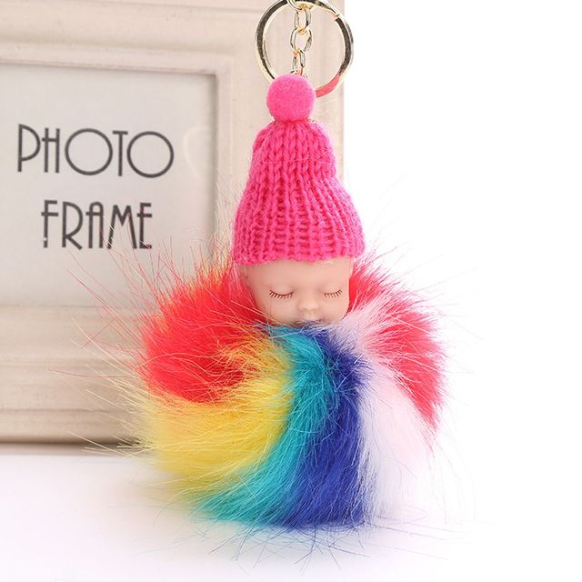 47e1bccd20 1 PC Rainbow Key Ring Pompom Fluffy Sleeping Baby Doll Keychain Faux Rabbit  Fur Women Car