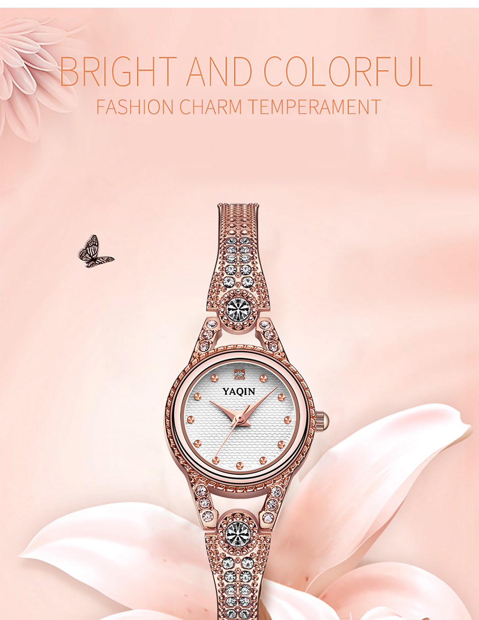 Yaqin moda mujeres reloj con diamantes oro reloj de lujo marca ...