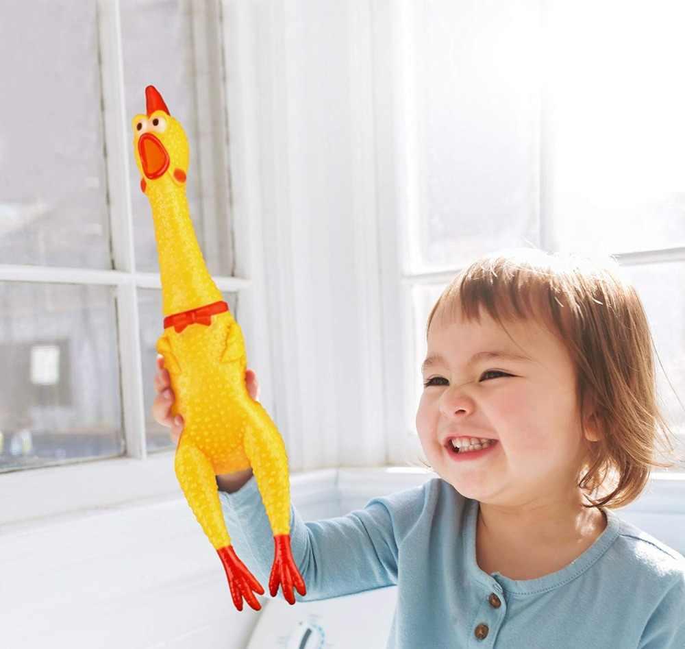 สัตว์เลี้ยงของเล่นสุนัขกรีดร้องไก่ Squeeze Sound ของเล่นสำหรับสุนัข Super Durable & Funny Squeaky สีเหลืองไก่ยางสุนัข Chew ของเล่น