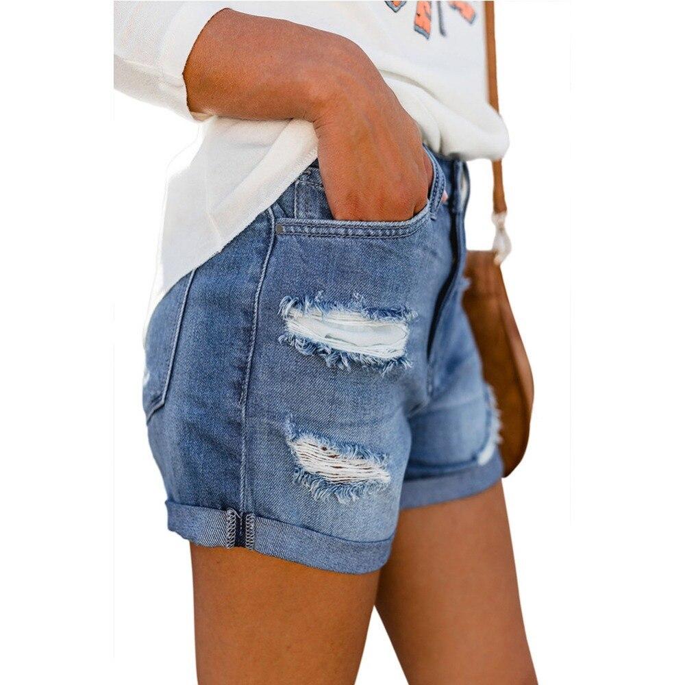 High Quality Women's Short High Waist Jeans Summer 2019 Hole Stretch Denim Shorts Loose Casual Women Jeans Shorts