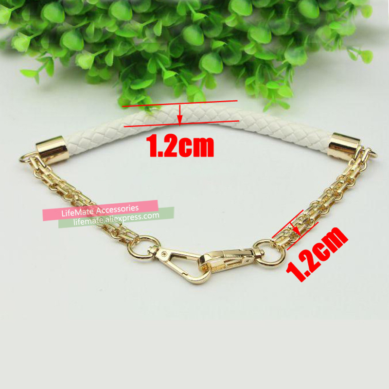 Short 50cm Metal Gold Chain Replacement Straps Colorful Pu Leather Purse Handles For Small Handbags Diy Bags Accessories In Bag Parts From