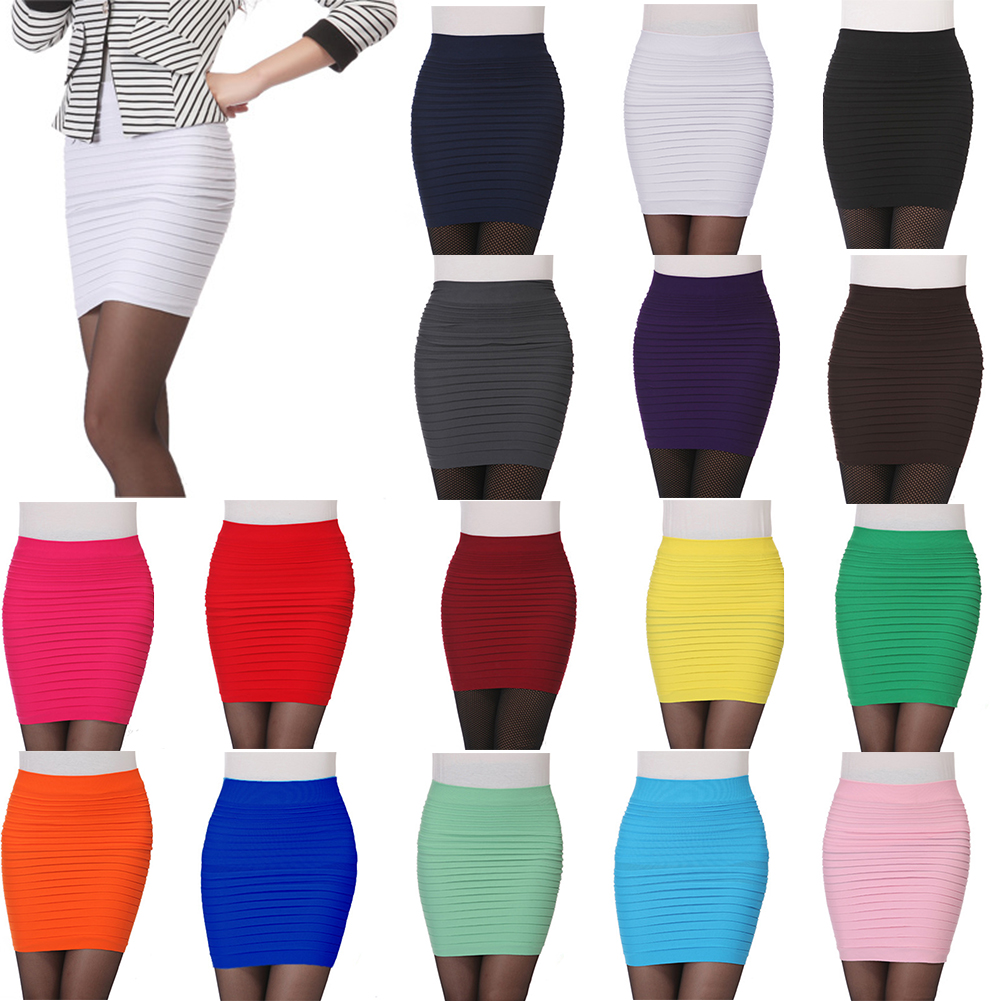 New Women Mini Pleated Elastic Short Skirt Pencil Skirt Bodycon Slim Skirt Seamless Tight Fitted Skirt