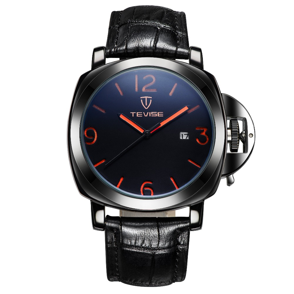 ФОТО 2017 New Tevise Mechanical watch Simple Fashion Leather Band Wristwatches Men Brand Waterproof Black White Birthday Gift