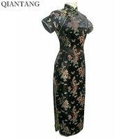 High Quality Black Ladies Satin Cheongsam Mujere Vestido Long Qipao Dress Dragon Phenix Size S M