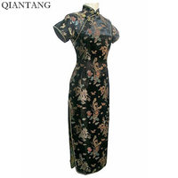 High Quality Black Ladies Satin Cheongsam Mujere Vestido Long Qipao Dress Dragon Phenix Size S M
