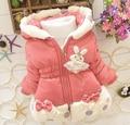 2015 meninas jaqueta de inverno Parkas roupas casaco outerwear crianças casaco bebê meninas Natal crianças cute roupas aquecimento 2-4 anos