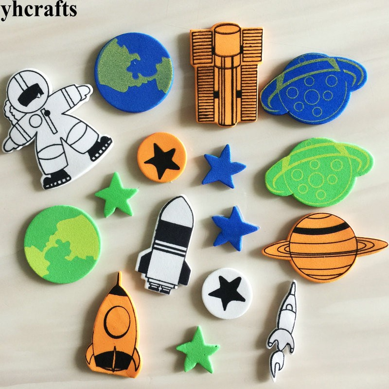 16pcs/lot.spaceman Outspace Star Rocket Foam Stickers Early Learning Diy Toys Activity Items Kids Room Ornament Birthday Gifts
