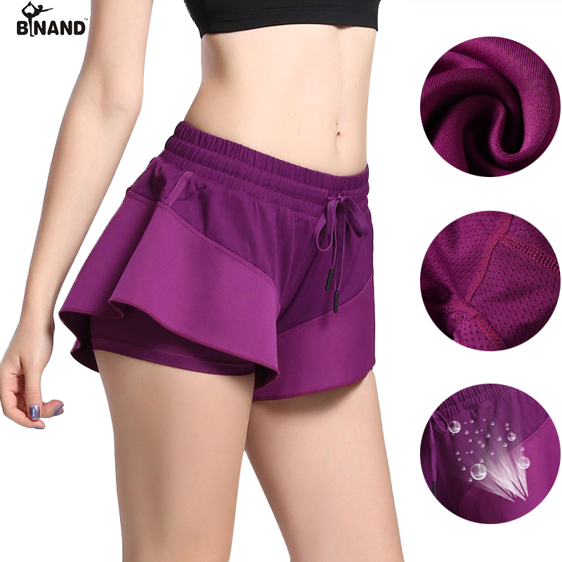 BINAND Women Sport Running Shorts Hollow Out 2 in 1 Short Pants for Yoga Workout Breatha ...