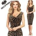 2017 Мода Sexy Leopard Dress V шеи Платье Без Рукавов Летние Платья Плюс Размер 3XL 4XL 5XL Женская Одежда