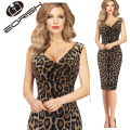 2017 Fashion Sexy Leopard Dress V neck Sleeveless Sheath Summer Dresses Plus Size 3XL 4XL 5XL Women Clothing