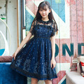 Sweet Sky Constellation Deep Blue Lolita Dress Starry Night Printed Mori Girl Adorable Lolita JSK Dress with Lace Overlay