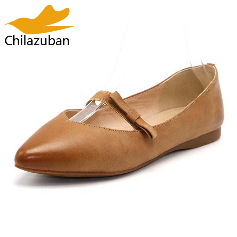 Chilazuban Size 33-40 Ladies Genuine Leather Pointed Toe Pumps Women Bowtie Bowknot Strap Slip On Shoes Women Spring Footwear ladies real leather pumps shoes women pointed toe cross strap gladiator shoes fiork nude color sexy female footwear size 34 40